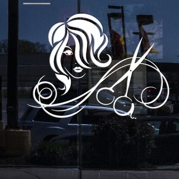Window Sign for Business Vinyl Wall Decal Hairdressing Salon Haircut Scissors Hairstyle Stickers (2231igw)