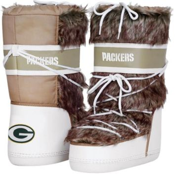 Cuce Shoes Green Bay Packers Ladies The Aficionado Boots - Tan/White