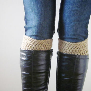 Crochet Boot Cuffs Socks Boot Toppers in Camel Tan