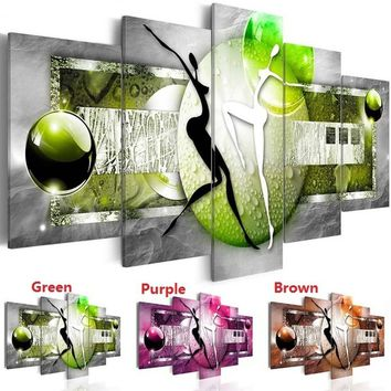 ( No Frame ) Abstract Dancing Canvas Art Design Print Modern Home Office Decoration Gift for Love(Color:Green,Purple,Brown,Size: