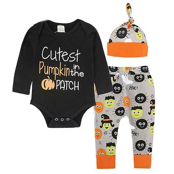 Gifts for Girls Boys Costume Unisex Baby Clothes Set Pumpkin Rompers + Cute Pants + Hat Suit