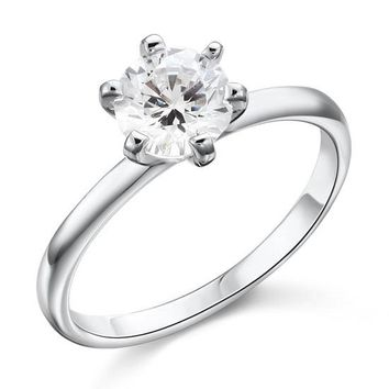 1 Carat Created Diamond Engagement Sterling 925 Silver Ring