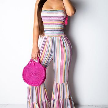 Rainbow and Tasseled Striped Bell-bottoms Spaghetti Strap Jumpsuit