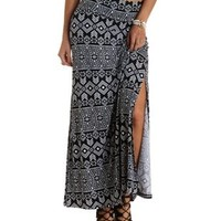 Black/White Tribal Print Double Slit Maxi Skirt by Charlotte Russe