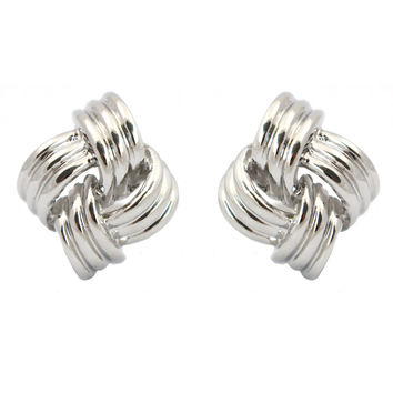 TIMELESS Silver Knot Stud Clip On Earrings