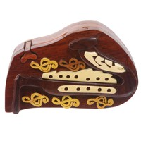 Handcrafted Wooden Musical Instrument Secret Jewelry Puzzle Box - Saxophone Color: Walnut