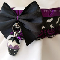 Purple and Black Bat Cupcake Spiderweb Goth Spooky Lace Pleated Kitten/Pet Play Collar