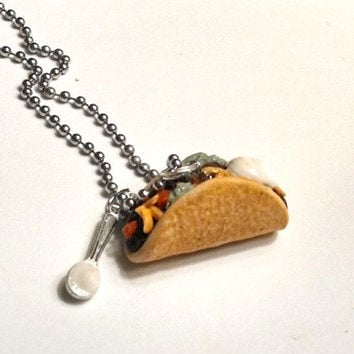 Taco Necklace, Polymer Clay Jewelry, Food Accessories