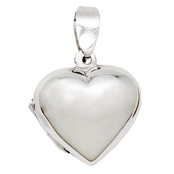 Tiny Sterling Silver Classic Heart Locket Pendant, 19mm