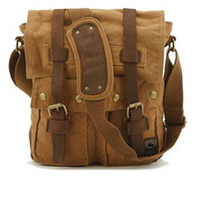 brown military style messenger bag leather canvas