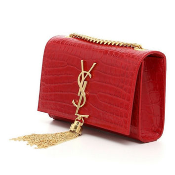 Saint Laurent Ysl Red Monogram Small Silk Nappa Handbag