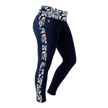 Navy and Gold Floral Leggings by Lily Grace - FINAL SALE