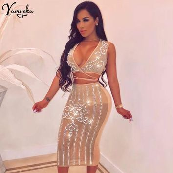 Sexy see through Sequins Summer Dress women Sparkling bandage long dress  Glitter diamond Beading Nightclub Party e74f2cdf9