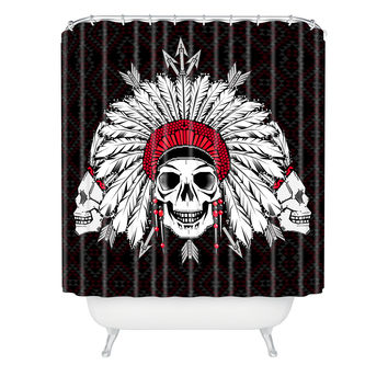 Chobopop Geometric Indian Skull Shower Curtain