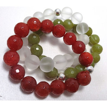 Beaded Bracelet Stack. Olive Green, Red & Frosted
