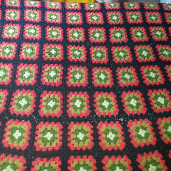 "Vintage 70s Hand Crochet Granny Square Afghan - 56"" x 70"""