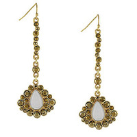 Jessica Simpson Stone and Crystal Linear Drop Earrings - Gold/Multi