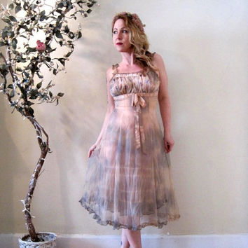 FUNDRAISER SALE vintage hand dyed tie dyed slip dress / muted cream taupe moss / boho festival fairy goddess steampunk