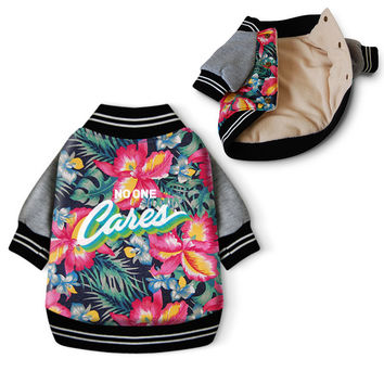 Fancy Dog Coat Hawaii Aloha Style Pet Clothes Winter Cotton Padded Warm Pet Jacket Sweater Flower Print Autumn Sweatshirt 39