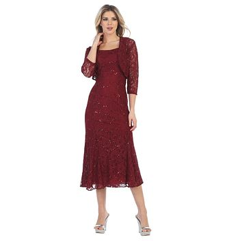 Burgundy Tea-Length Semi-Formal Dress with Lace Bolero Jacket