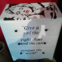 Marilyn Monroe hand painted dresser with three drawers - fabulous