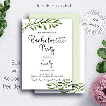 Bachelorette Printable Invitation, Editable Template, Instant Download, Bride, Miss to Mrs, Girls Night Out, Invitations, Greenery Wedding