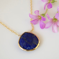 Lapis Necklace Bezel Set Necklace Bezel Set by BellissimoJewelry