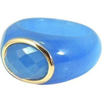 Blue Jade  14k Gold Ring