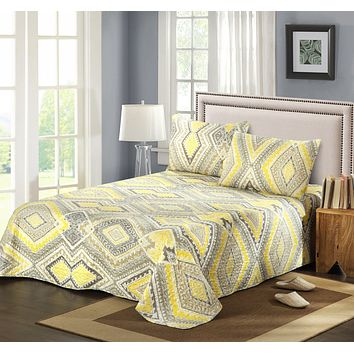 Tache 3 Piece Modern Yellow Summer Diamond Bedspread set (KST1503)