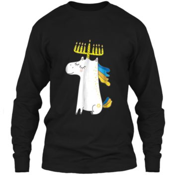 Funny Jewish  Unicorn Menorah  Kids Girl Hanukkah LS Ultra Cotton Tshirt