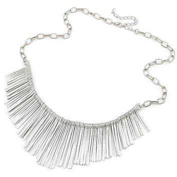 Silvery Fan-shaped  Tassel  Short Pendant Necklace, Fashion Jewelry, Party Accessory, Wedding Necklace, Birthday Gifts 9093021