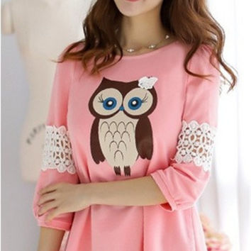 Maternity 2014 owl cartoon graphic patterns cutout laciness patchwork medium-long t-shirt = 1945709380