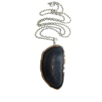 Black  Agate Necklace, Black and Gray Agate Necklace