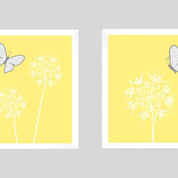 White Floral with Gray Butterflies on Light Yellow CUSTOMIZE YOUR COLORS, 8x10 Prints, Nursery Decor Print Baby Room Bathroom Livingroom Art