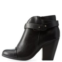 Black Belt-Wrapped Chunky Heel Ankle Booties by Charlotte Russe