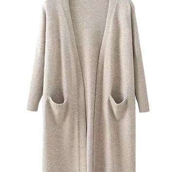 'Carrie' Lightweight Open Wrap Pocket Long Cardigan