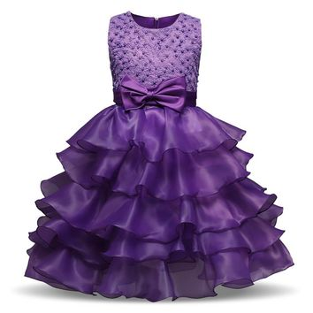 Toddler Baby Girl Lush Summer Dress Children Clothing Princess Girl Party Wear Costume For Kids Prom Gown Designs Formal Vestido