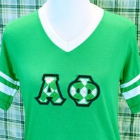 Sorority Pep Rally Tee Argyle Greek Applique Alpha Phi