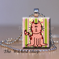 Scrabble Tile Pendant  Cool Cat  Pink Cat On by TheWickedShop