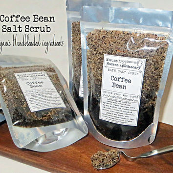 organic coffee salt scrub // exfoliate handcrafted raw natural ingredients in stand up pouch