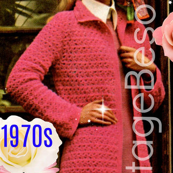 Digital Download - Ladies Long Coat 1970s Vintage Crochet Pattern EASY and FUN to Crochet Sweater Jacket Instant Download - PDF Pattern