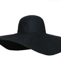 EOZY Black Women's Ridge Wide Floppy Brim Summer Beach Sun Hat Straw Cap Party Garden Travel