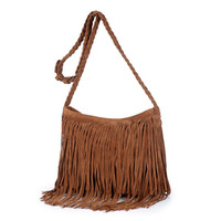 Brown Fringe Decor Shoulder Bag