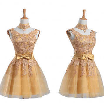 homecoming dress, lace homecoming dress, gold homecoming dress, tulle prom dress, sexy homecoming dress, 2015 homecoming dress