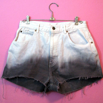 Dip Dyed White and Charcoal Gray High Waisted  Cut Off Shorts - Vintage Revamped Cropped Jeans Size 12 / Large