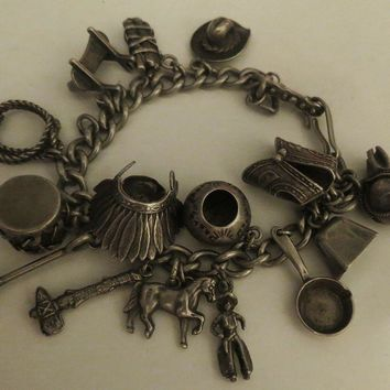 Vintage Native American Indian Sterling Silver Charm Bracelet