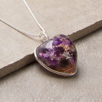 Amethyst Heart Orgone Necklace - 24 inch Silver Chain