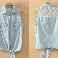Denim Button-Up Shirt With Lace on Luulla