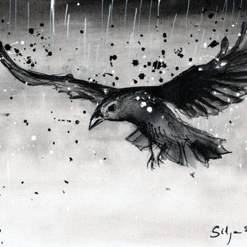 Ink painting on canvas A4 - Raven flying in the rain