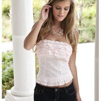 EYELET RUFFLED STRAPLESS TOP | Body Central